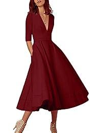 Women s Elegant Cocktail Maxi Dress Deep V Neck 3 4 Sleeve Vintage Pleated  Dress b44b2fad4394