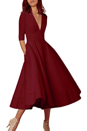YMING Women Elegant Deep V Neck Dress Pleated Half Sleeve Long Dress Wine Red L