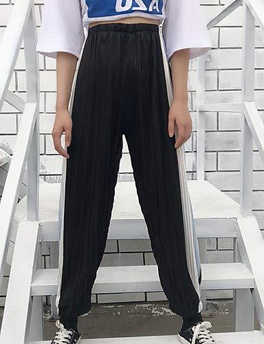 righe donna Vita larghi YFLTZ Chino da tinta alta unica Pantaloni Red rosso a unita taglia wqXZIXnxvr