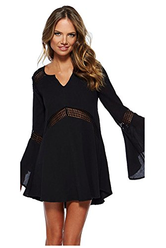 Ericoco Women's Long Trumpet Sleeve Hollow Cover up 2015 Summer (Black)