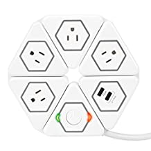 Globe Electric Flexigon 1200 Joule Surge Protector Power Strip, 2x USB Ports, 2.1A Combined, White Finish, 77891