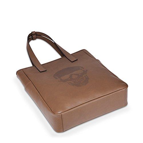 U LIFE Shopper Leder Schädel Totenkopf Ledertasche Trendtasche Braun