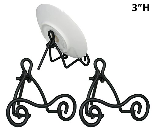 BANBERRY DESIGNS Black Metal Easels - Set of 3 - Wrought Iron - Display Plate Stand - Swirling Spiral Scroll - 4 Inch High (Iron Black Easel)