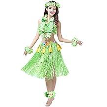"Fighting to Achieve Girls' Tassels 23.6"" Grass Skirt Hula Sets 8pcs"