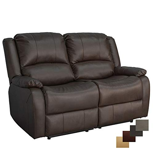 RecPro Charles Collection | 58' Double Recliner RV Sofa | RV Zero Wall Loveseat | Wall Hugger Recliner | RV Theater Seating | RV Furniture | RV Living Room (Slideout) Furniture | Mahogany