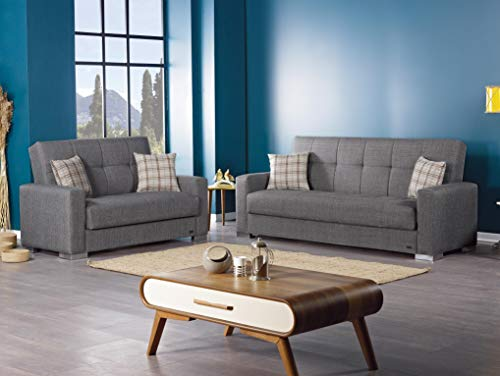 Living Room BEYAN Kansas Modern Upholstered Tufted Sleeper Sofa with Storage, 89″, Gray modern sofas and couches