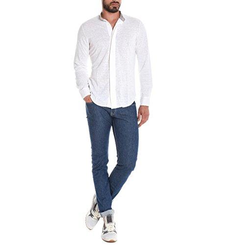 Eleventy Herren 979PO0011POL190031 Weiss Leinen Poloshirt
