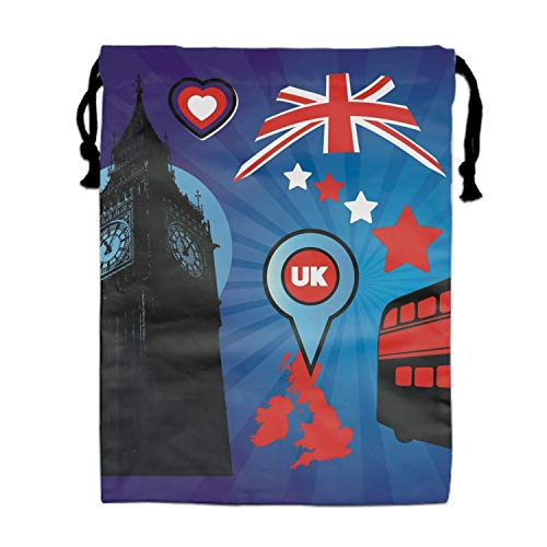 UK Flag And Big Ben Drawstring Bags Party Favors Pouch Tote Bag for Women Men]()