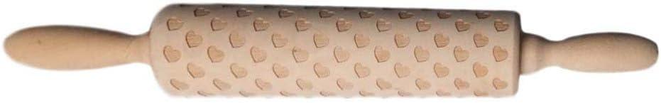 Amosfun Mattarello di Legno Amore Cuore Inciso Rullo Tagliatella Goffrato Biscotti Strumento di Cottura per Forniture per La Festa di Nozze di San Valentino