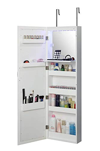 Abington Lane Over The Door Makeup Organizer - Wall Mounted Beauty Armoire with Stowaway Mirror and LED Lights (White) (Bathroom Cabinets Clearance)