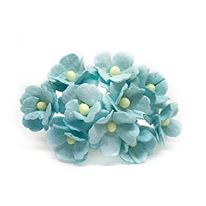 1.5cm Turquoise Mulberry Paper Flowers, Turquoise Paper Hydrangea, Wedding Flowers, Wedding Decor, Wedding Table Flowers, Turquoise Wedding, Artificial Flowers, 50 Pieces 61
