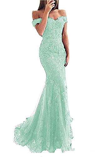 VeraQueen Women's Off Shoulder Long Beaded Prom Dress V Neck Lace Mermaid Formal Evening Dress Mint