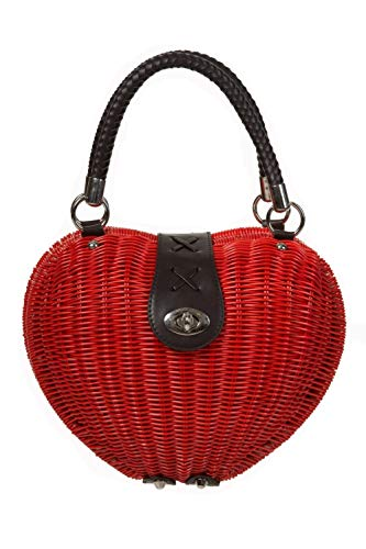 Dancing Days Retro Pinup Lolita Red Heart Shaped Wicker basket Handbag