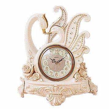 BBSLT Swan par relojes relojes antiguos fashion creative adornos decorativos en el salón,un reloj: Amazon.es: Hogar