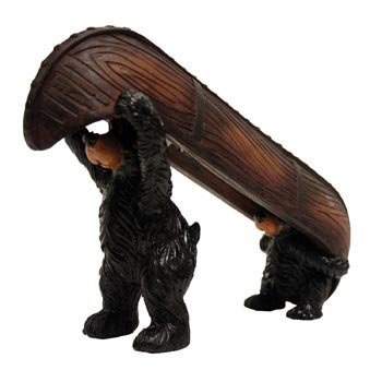 Bear with Baby Kid Cub Carrying a Canoe, Nautical Collectible Figure Statue, 9-inch - Bear Canoe