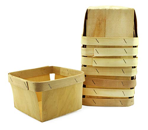 One Quart Wooden Berry Baskets (8-Pack); 5.75-Inch Square Vented Wood Boxes for Fruit Picking or Arts & Crafts -