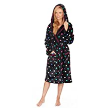 Forever Dreaming Women's Fleece Plush Hooded Spotty Bathrobe