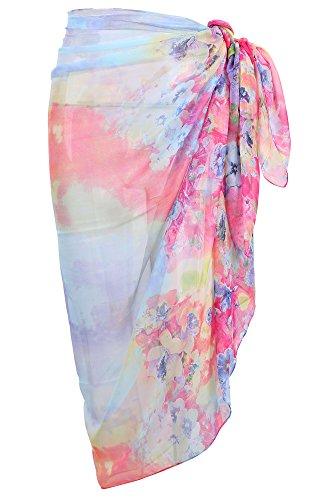 Simplicity Chiffon Print Scarf Beach Sarong Pareo Bikini Wrap Cover Up, 6
