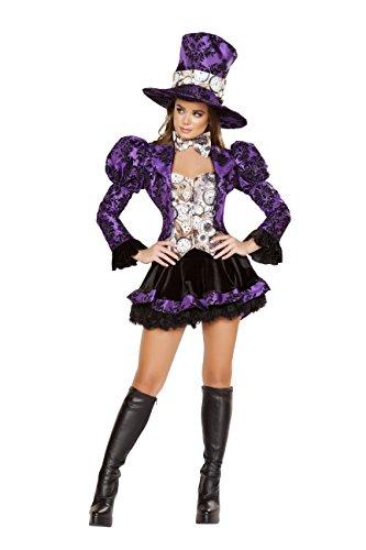 Sexy Women's 4pc Tea Party Vixen Mad Hatter Alice In Wonderland Costume (M) (Sexy Alice In Wonderland)