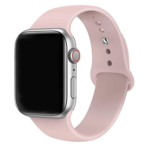 MadeforOnline : Band Compatible with Apple Watch 44mm 42mm 40mm 38mm Soft Silicone Waterproof Replacement Band iWatch Bands Wristband for Series 4,3,2,1, Nike+, S/M M/L (Pink Sand, 42mm S/M)