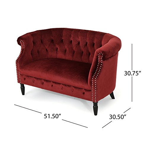 Christopher Knight Home 302214 Melaina Garnet Tufted Rolled Arm Velvet Chesterfield Loveseat Couch