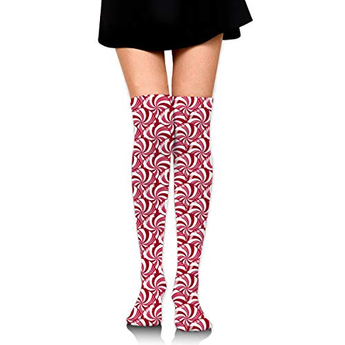 HFJDLSK Men & Women Knee High Compression Socks - Christmas Peppermint Candy Scales Pattern - Perfect for Nurses, Runners, Athletes, Diabetics