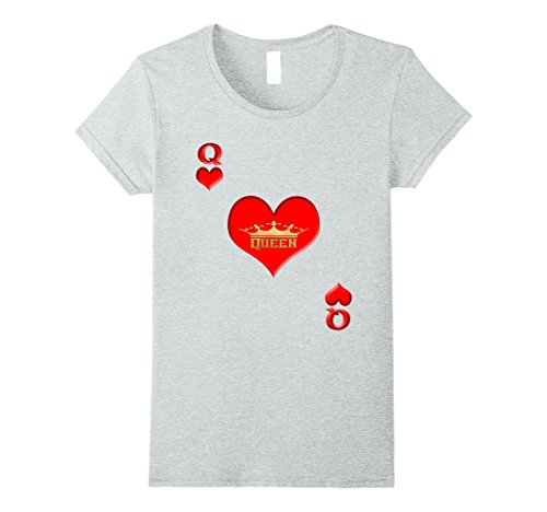 [Womens Queen of Hearts Easy Halloween Costume Shirt Playing Card XL Heather Grey] (Easy Diy Queen Of Hearts Costume)