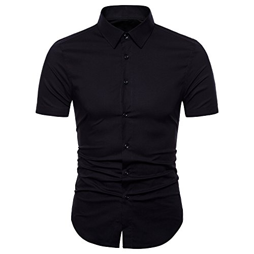 Manwan walk Men's Dress Shirts Slim Fit Short Sleeve Casual Business Cotton Button Down Shirts