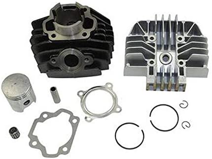 BLACKHORSE-RACING Cylinder Head Carburetor Top End Kit Piston Rings Piston Pin Gaskets with Circlips Compatible with 1983-2006 Yamaha PW80 Y-Zinger