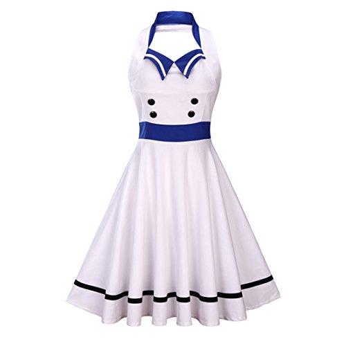 Ez-sofei Women's Vintage Sailor Style Backless Halter Cocktail Swing Dresses 3XL ()