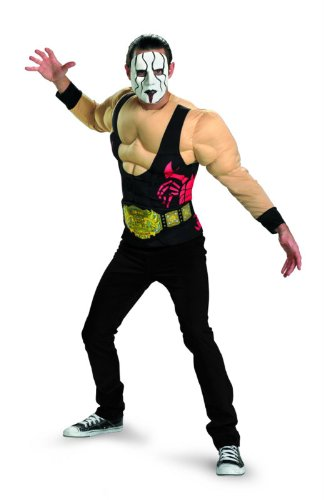 Disguise TNA Wrestling Sting Essential Muscle Adult Costume, Black/Red/Tan/Green, X-Large/42-46 for $<!--$24.99-->