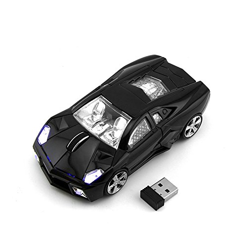 CHUYI Cool Sport Car Shape 2.4Ghz Wireless Mouse 3 Button 1600DPI High Tracking Speed Optical Mouse Gaming Mice USB Receiver for PC Laptop Computer (Black)
