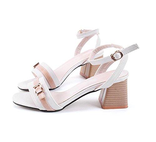 RuiFrau offene Sandalen eine Art Gurt Wort hochhackige Damen Schuhe wilde Sandalen schl¨¹pfen White