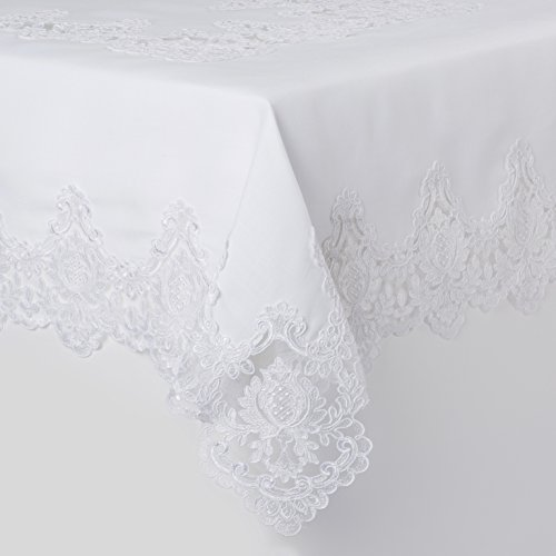 Violet Linen Imperial Embroidered Vintage Lace Design Tablecloth, 70'' x 132'', White by Violet Linen (Image #1)