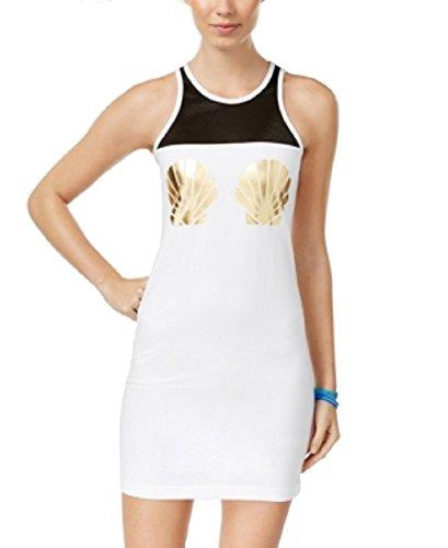 Material Girl Womens Juniors Mesh Inset Printed Tank Dress B/W (Inset Tank Dress)