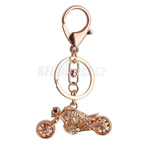 Rhinestone Gold Motorcycle Keyring Keychain Bag Charm Pendant Women ()