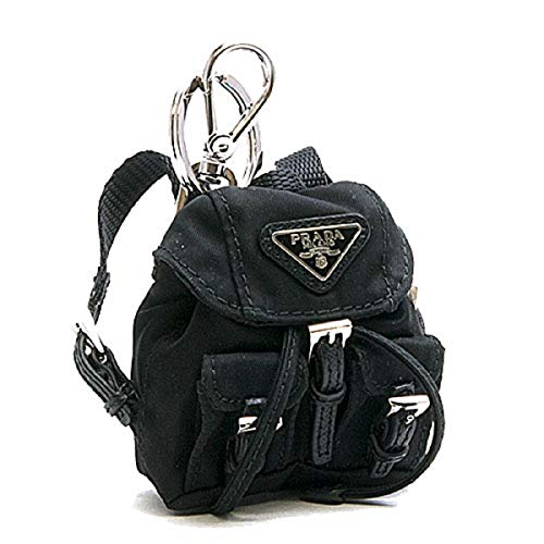 (Prada Steel key ring with black nylon iconic prada backpack coin purse Key Chain 1TT010)