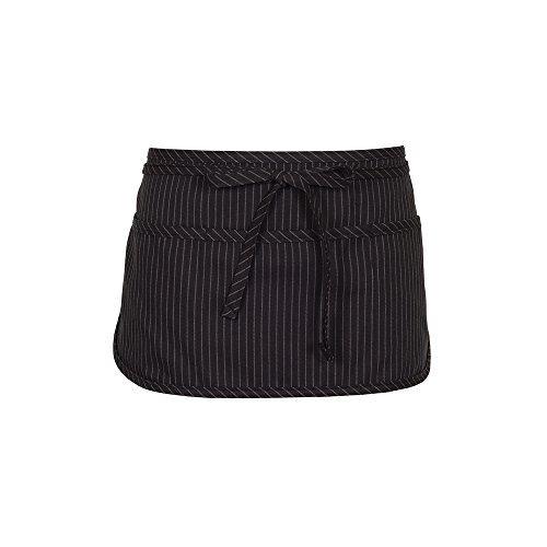 (Fame Adult's 3 Pocket Round Bottom Waist Apron - O/S - Black Pinstripe)