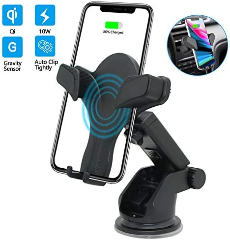 Wireless Car Charger Mount QI Fast Charging Auto Clamping Phone Holder Air Vent Compatible with Samsung Galaxy S10 S9 S8 S7 Edge Note 8 5 iPhone X Xs Max 8 Plus