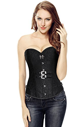 Gothic with Nero Brocade Overbust Corset Steampunk Charmian Buckles Double Women's wEpYB4
