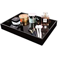 Waterproof Acrylic Vanity Tray, Remote Control Tray, Sturdy Valet Tray Organizer, Lucite Nightstand or Dresser Organizer for Change, Coin, Key, Phone, Glasses, Black Acrylic Bathroom Tray
