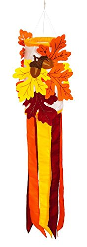 Evergreen Fall Leaves Sculpted Applique Windsock
