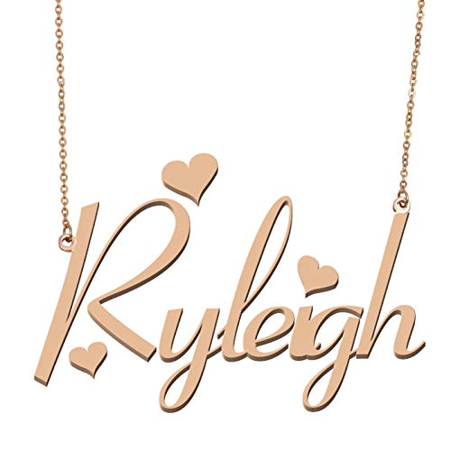 Initial Pendant Nameplates - Aoloshow Customized Custom Name Necklace Personalized - Custom Made Ryleigh Necklace Initial Monogrammed Gift for Womens Girls