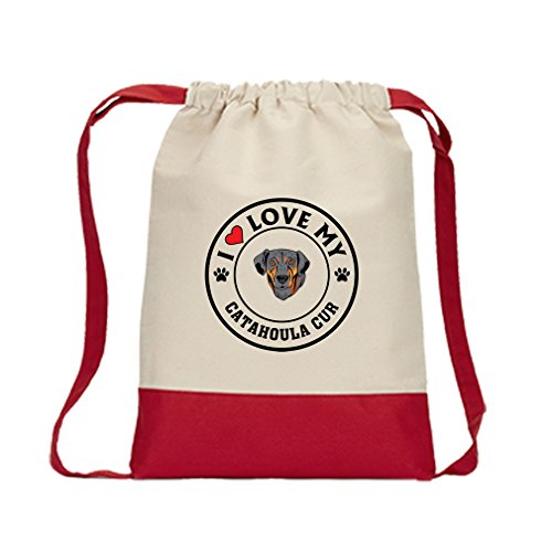 Canvas Drawstring Contrast Bag I Love My Catahoula Cur Dog Style 1 Red For Sale