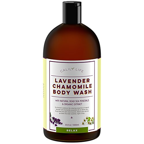 Calily Life Organic Aromatherapy Stress Relief Lavender + Chamomile Body Wash with Dead Sea Minerals and Aloe Vera, 33.8 Oz. – Deep Cleansing + Relaxing, De-stressing and (Relaxing Shower And Bath Gel)