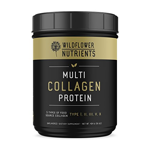 Wildflower Nutrients Multi Collagen Protein Powder (16oz) Pure Blend of Hydrolyzed Grass-Fed Beef, Wild Fish, Chicken & Eggshell Collagen Peptides, Type I,II,III,V and X, Unflavored, 100% Natural