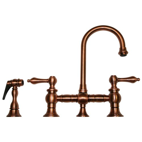 Whitehaus WHKBLV3-9106-ACO Vintage Iii 5 1/4-Inch Bar Bridge Faucet with Short Gooseneck Swivel Spout, Lever Handles and Solid Brass Side Spray, Antique Copper