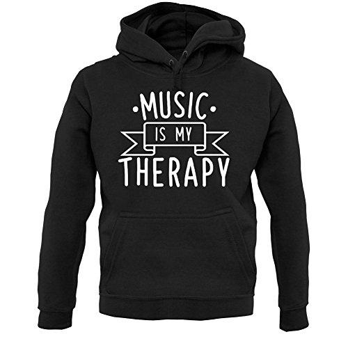 Dressdown Music is My Therapy - Unisex Hoodie/Hooded Top - Black - Large