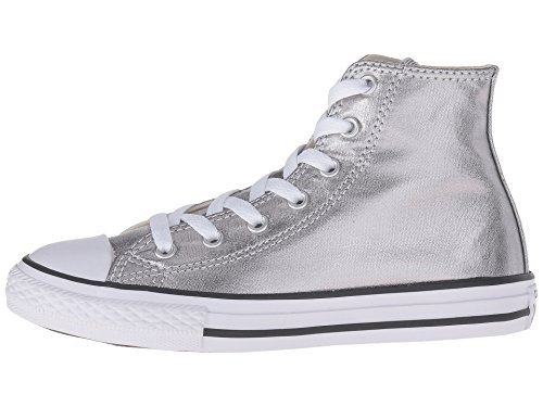 Converse Kids Chuck Taylor All Star Hi Top Fashion Sneaker Shoe - Metallic Gunmetal/White/Black - 2 by Converse