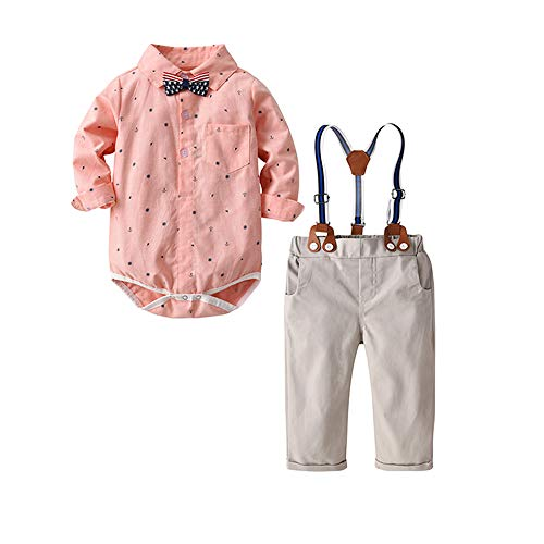 Baby Boys Long Sleeve Shirt Gentleman Suspender Pants Clothing Set Overalls Romper Jumpsuit Clothes Toddler Outfit (Pink Anchor, 12-18M/90)